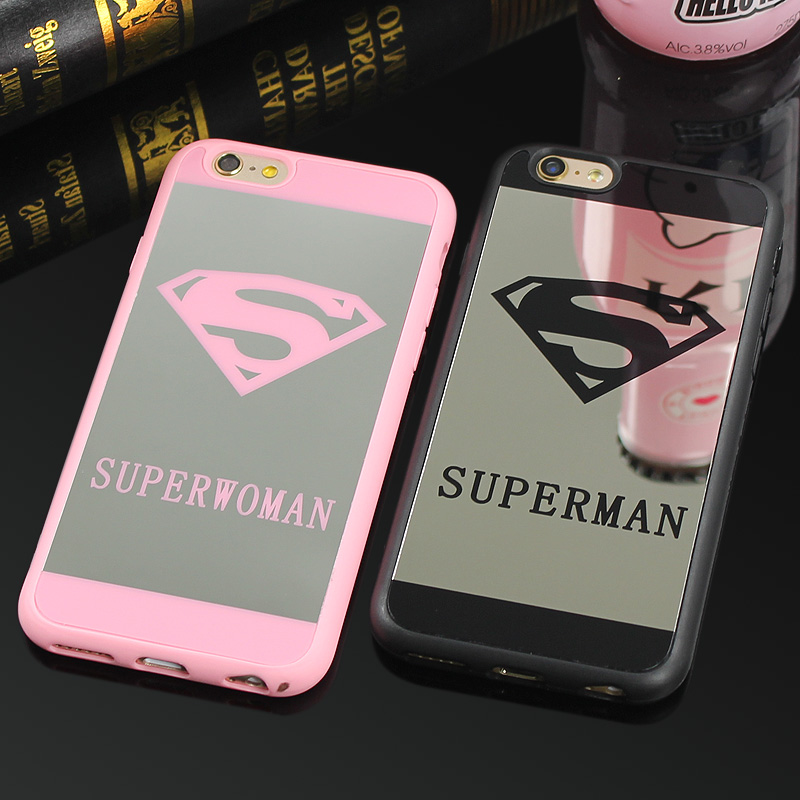 Luxury superman mirror surface tpu case for iphone 7 plus for Coque iphone 5 miroir