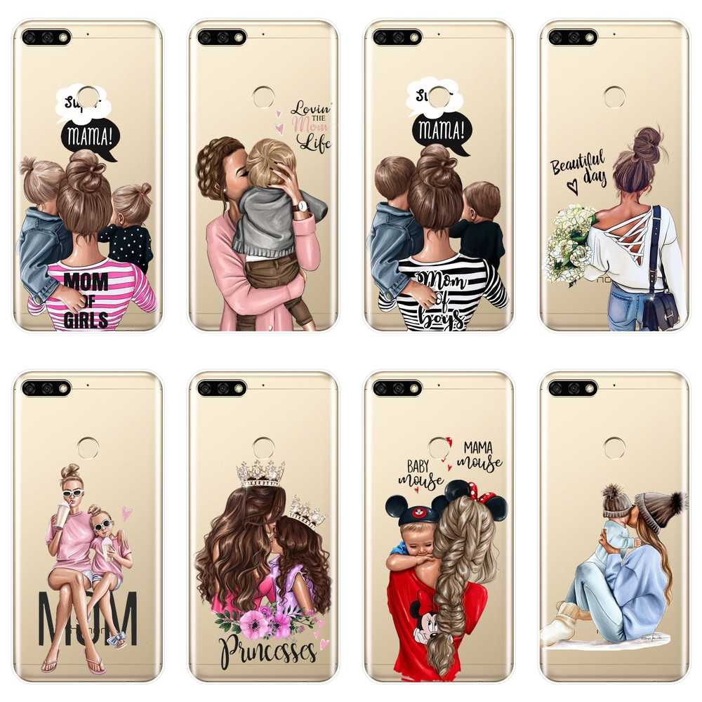 Black girl Baby Women Mom Phone Case For Huawei Honor 8X MAX 7S 7X 7A 7C Pro Soft Silicone Back Cover For Honor 8 9 10 Lite Case