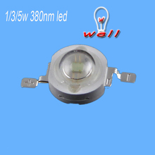 10pcs/lot 380nm 3W led deep uv led 3w 380nm chip original led diode 100% guranteed