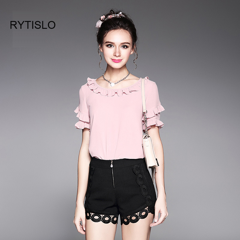 RYTISLO Fashion Butterfly Sleeve Hollow Lace Pants Suits Women Summer Leisure Clothing Sets Pink Color L XL 2 XL 4XL 5XL