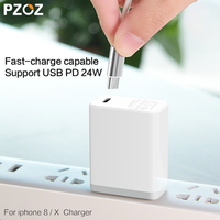 PZOZ USB PD Charger Fast Charging 24W Usb C Lightning Adapter Mobile Phone For Iphone X