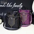 Brand high quality women's fanshion backpack Waterproof nylon rivet leisure & travel bag multi-function black shoulder bag