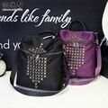 Marca de alta calidad de las mujeres de fanshion mochila remache ocio y bolsa de viaje de nylon Impermeable de múltiples funciones negro bolsa de hombro