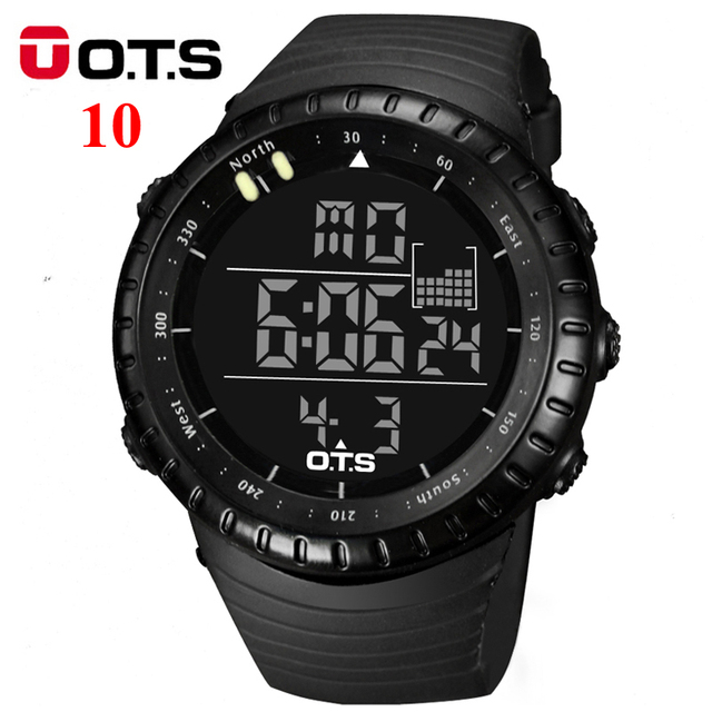 ОТС Цифровые Часы мужчины спорт 50 М Профессиональный Водонепроницаемый Кварцевые большой циферблат часов военная Световой наручные часы 2016 мода