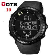 OTS Relojes Digitales hombres deportes 50 M Profesional A Prueba de agua horas de Cuarzo dial grande Luminosa militar relojes de pulsera 2016 de la moda
