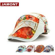 [JAMONT] модные кепки женские шапки береты шляпа с принтом весна лето женские козырек Солнцезащитная бейсболка Лоскутная плоская кепка s