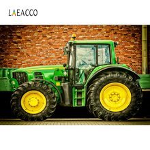 Laeacco Farm Tractor Brick Wall Rural Agricultural Portrait Photography Backgrounds Photographic Backdrop Photocall Photo Studio