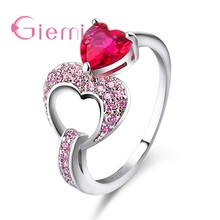 Rainbow-Ring 925-Sterling-Silver Anillos Hollow Pure Heart for Valentines-Day-Gift Paved