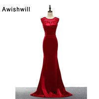 Real Photo Handmade Beadings Elegant Red Evening Dresses Mermaid Women's Special Occasion Party Dress Customize Prom Gowns