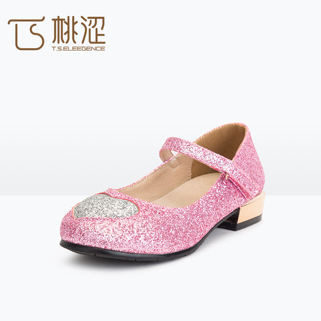 22fa953c5f4 T.S. kids kinderschoenen hoge hakken lederen Glitter nieuwe casual  paillette platte balletschoenen vrouwelijke prinses schoenen maat