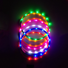 USB Rechargeable Collar For Dogs Silicone Safety Warning LED Light Luminous Glowing Dog