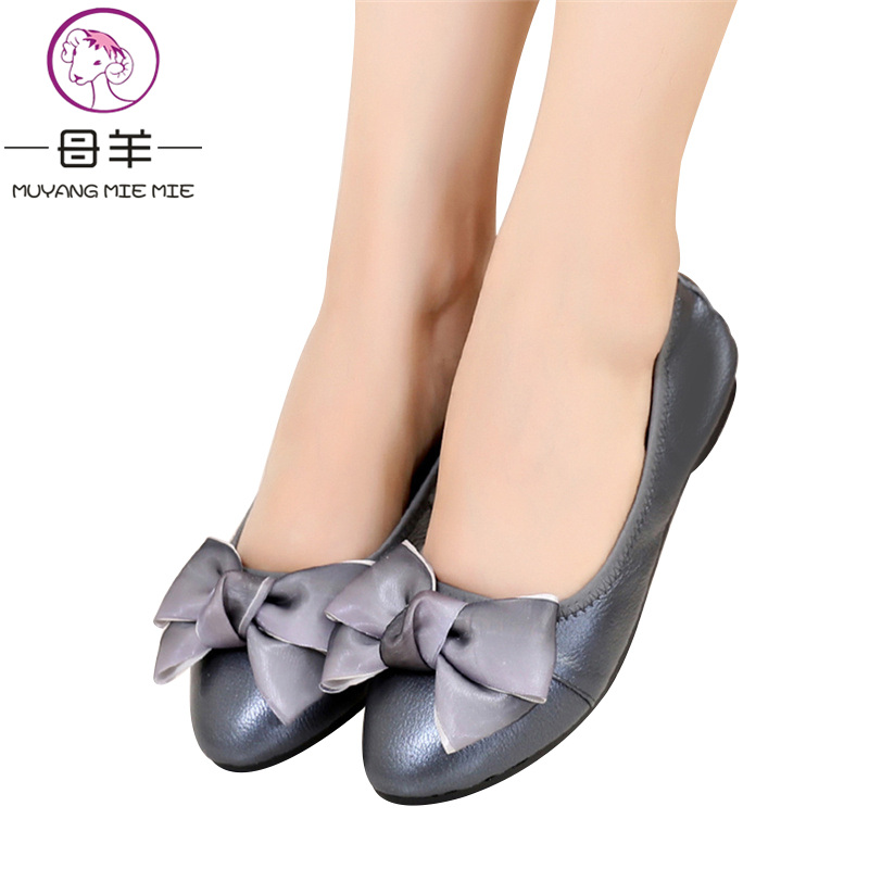 ddb7e5fc491a MUYANG Women Flats 2018 Genuine Leather Ballet Flats Female Casual Flat  Shoes Women Loafers Soft Comfortable