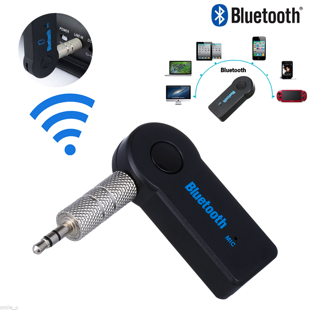 Bluetooth Receiver 3.5mm Audio AUX Music System Car Adapter Wireless With Mic