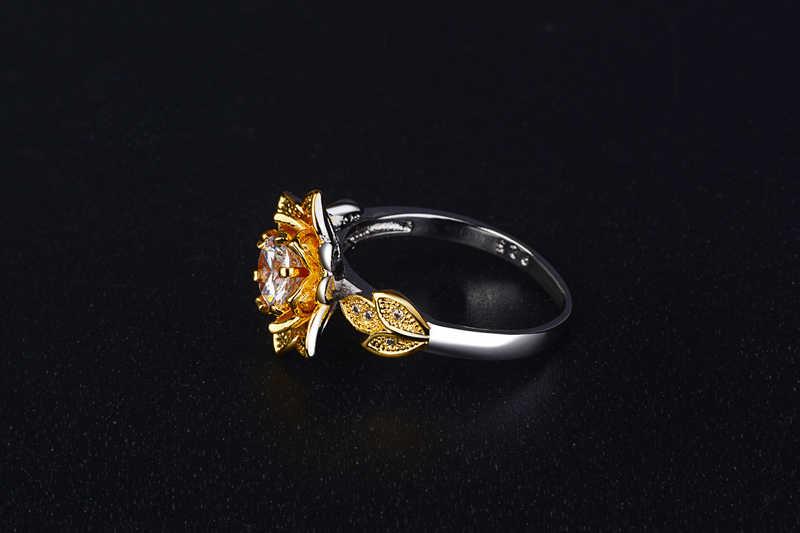 Yanleyu złoty kolor kwiat pierścionek zaręczynowy czysta 925 srebro AAA cyrkon CZ obrączki dla kobiet moda biżuteria PR213