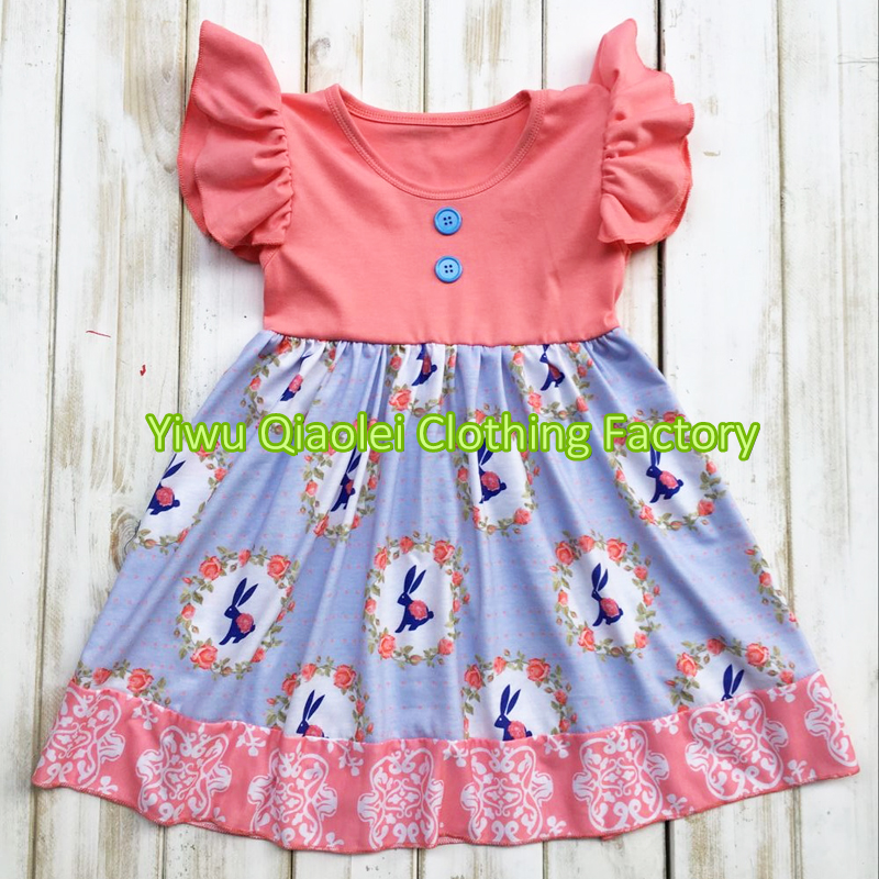 2017 Spring clorhing sets Easter Day coral bunny outfits in stock cotton high quality