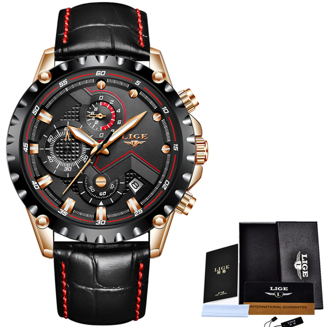 Mens Watches Top Brand Luxury Quartz Gold Watch Men Casual Leather Military Waterproof Sport Wrist Watch 5