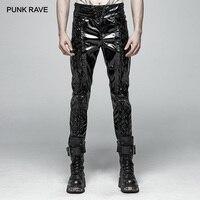 Панк RAVE Для мужчин панк рок глянцевой лакированной кожи черные брюки модные мотоциклетные стимпанк готический производительность Для мужч