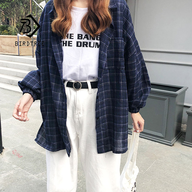2019 New Woman Vent Vintage Plaid Shirt Single Breasted Turn down Collar Cotton Long Sleeve Button Feminina Sales T8D512Z 1