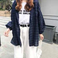 2019 neue Frau Vent Vintage Kariertes Hemd Einreiher Drehen unten Kragen Baumwolle Langarm Taste Feminina Verkäufe T8D512Z