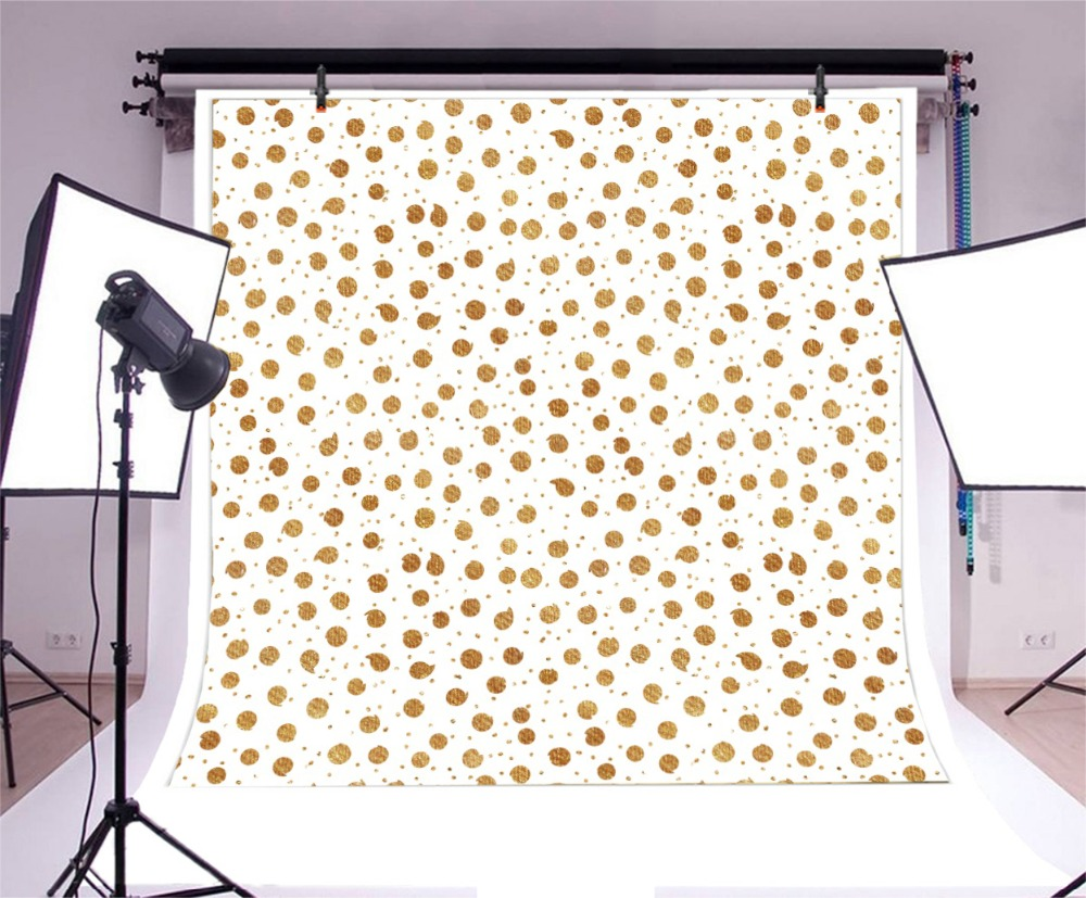 Laeacco Photography Backdrops Golden Polka Dots Sequins Baby Birthday Party Decor Photographic Background Photocall Photo Studio in Background from Consumer Electronics