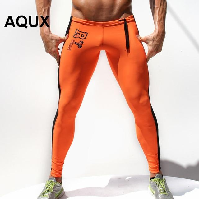 AQUX Brand Clothing 2016 Men Long Pants Men High Stretch Tight Pants Hi-Q Men's Legging Pant Pants Gay Sexy Designed Sweatpants