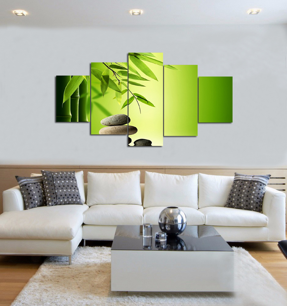 CANVAS PAINTING MODERN WALL ART HOME DECORATION green bamboo ...