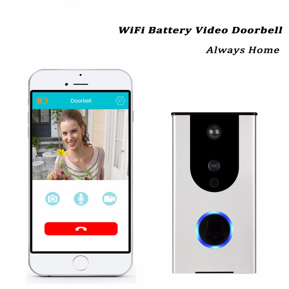 HD Wifi Battery Video Doorbell Camera 720p Wireless Enable Video Surveillance Smart Home iOS & Android APP IR Night Vision F1396 zilnk video intercom hd 720p wifi doorbell camera smart home security night vision wireless doorphone with indoor chime silver