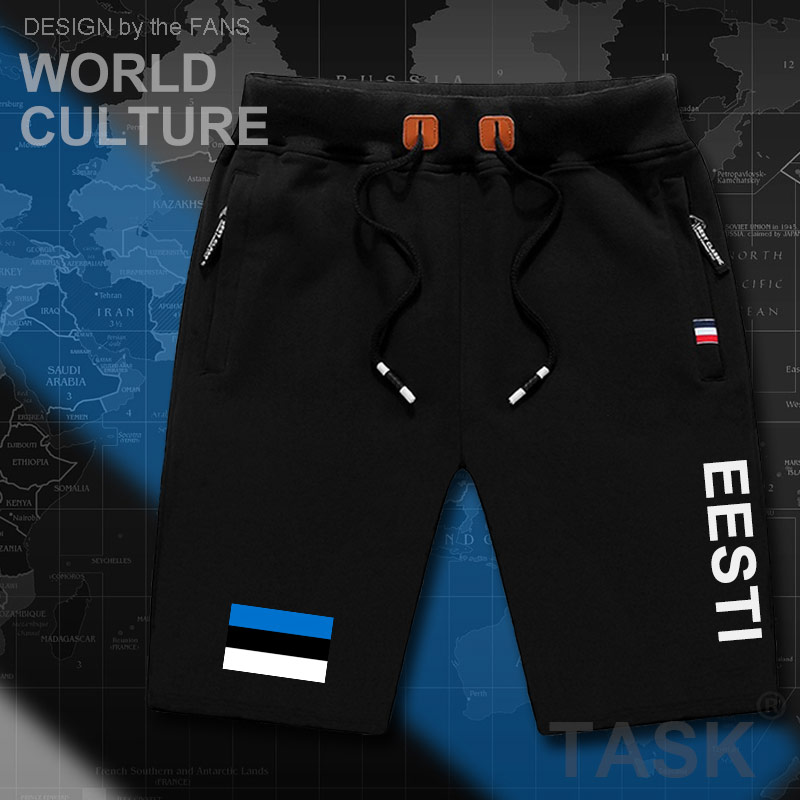 Estonia Estonian Mens Shorts Beach Man Men's Board Shorts Flag Workout Zipper Pocket Sweat Bodybuilding 2017 Cotton  EST Eesti