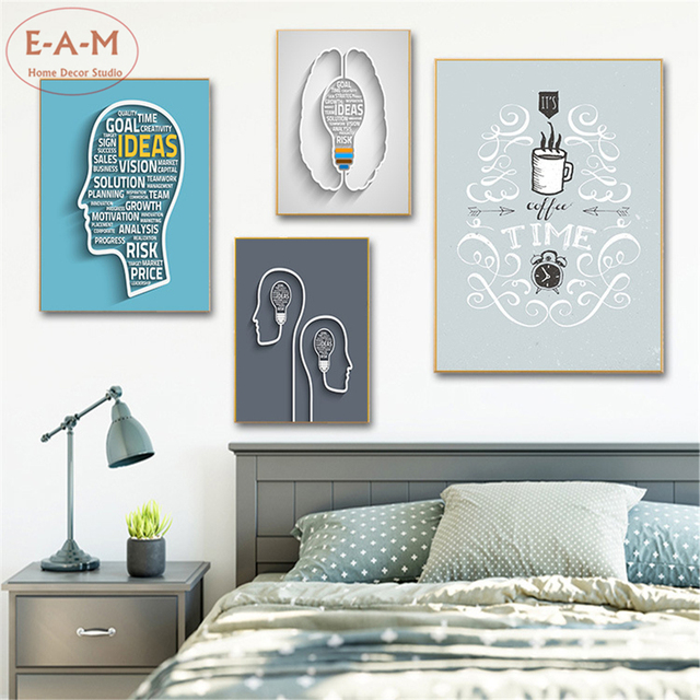 Creative Brain Quote Idea Cotton Canvas Art Print Painting Poster Wall Pictures Home Decoration Decor