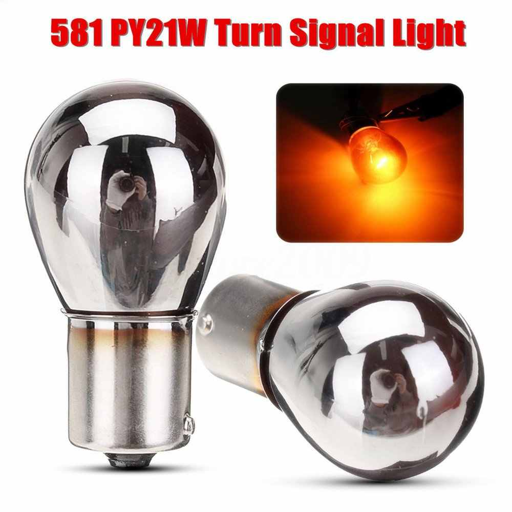 New 2Pcs Amber Turn Signal Tail Brake Light Signal light 12V Parking Light Bulbs Chrome Silver Rear Indicator Bulbs 581  PY21W