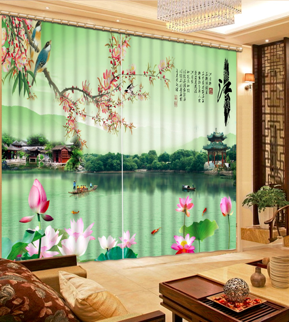 Modern Chinese Curtains Photo lotus River water Curtains For Living Drapes Hotel Cortainsa de sale Spring nature Curtain Hooks