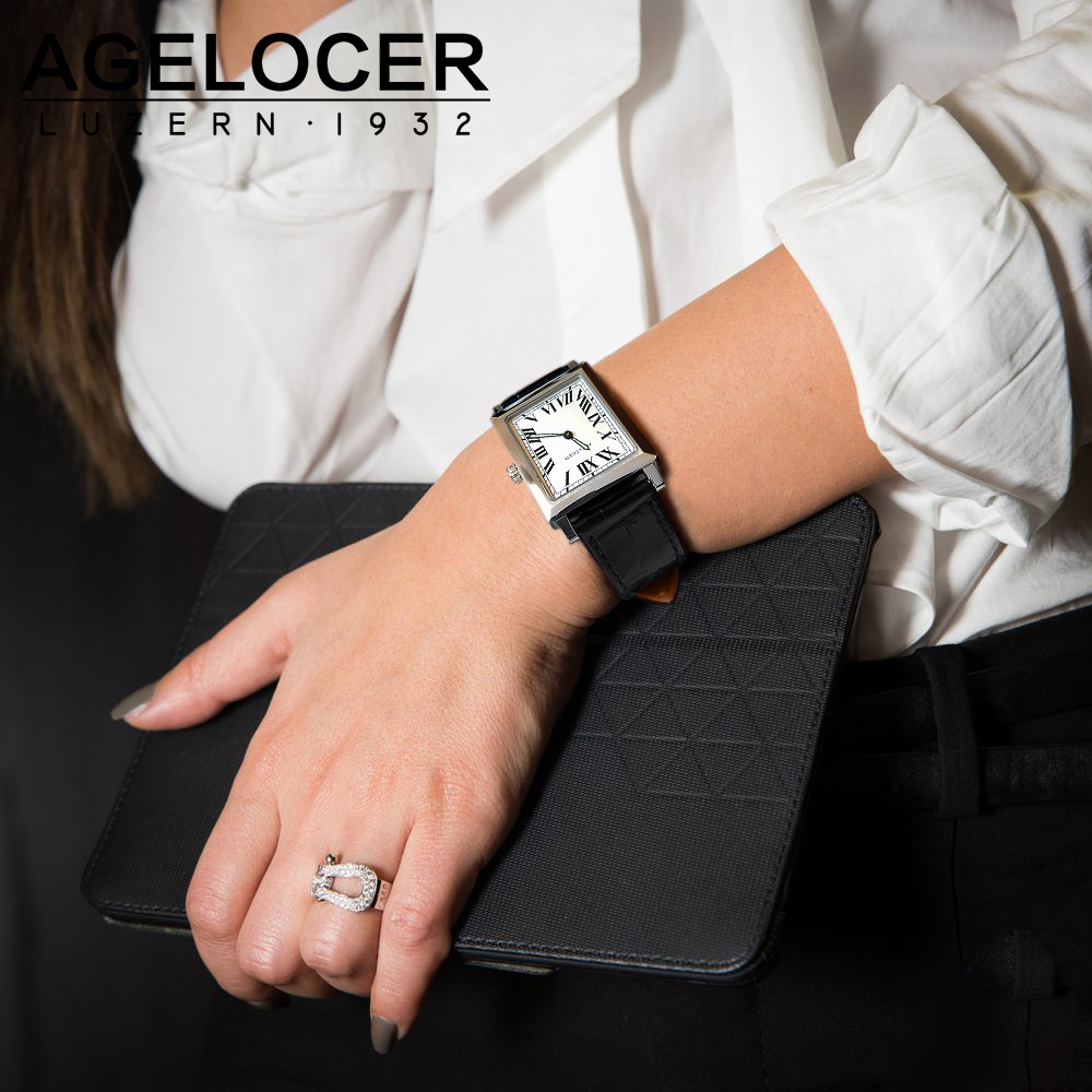 Swiss Luxury Brand Agelocer Watches Women Quartz Watch Female Clock Slim Roman Numerals Ladies Wristwatches With Gift Box antique half hunter roman numbers quartz pocket watch carving engraved fob clock men women gift with necklace
