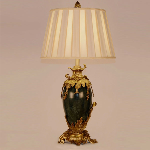 Luxury Home Decor Golden Copper And Import Dark Green Marble Table Lamp Energy Saving And