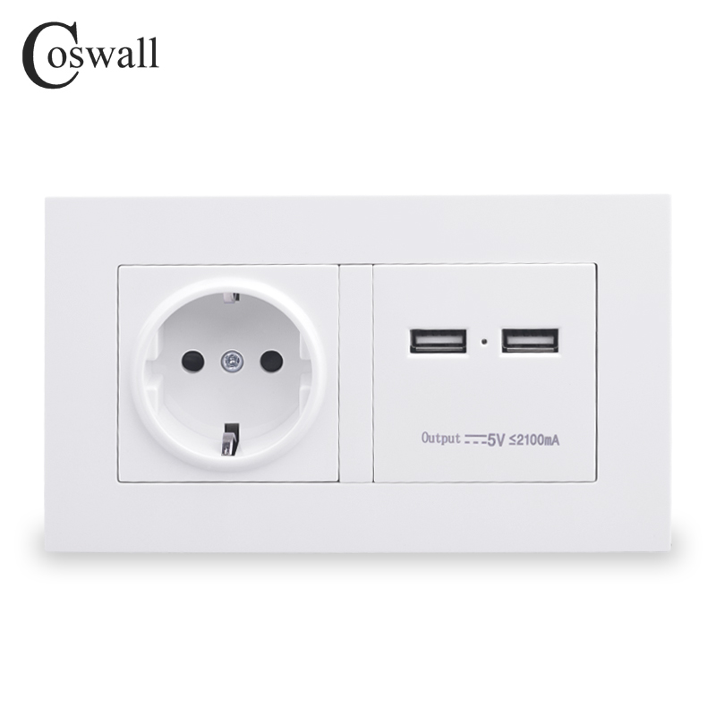 COSWALL 146 Type Wall Socket 16A EU Standard Power Outlet With Dual USB Smart Charger Port For Mobile 5V 2100mA Output PC Panel coswall wall socket uk standard power outlet switched with dual usb charge port for mobile 5v 2 1a output stainless steel panel