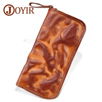 New Fashion Genuine Leather Men Wallets Handmade Personality Long Purse Zipper Clutch Bag Cow Leather Money Clip Mobile Bags
