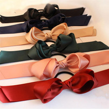 1pcs Women Rubber Bands blue red black Ribbon Bow Hair band Rope Scrunchie Ponytail Holder Gum for Hair Accessories Elastic(China)