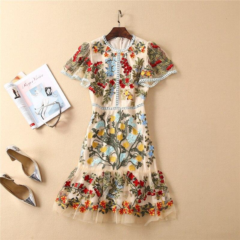 Top Brand Fashion Runway Dress Women 2019 New Designer Summer Style Short Sleeve Gorgerous Flower Embroidery