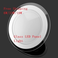 10pcs Dimmable LED Panel Downlight 6W 12W 18W Round Glass Ceiling Recessed Lights SMD 5630 Warm