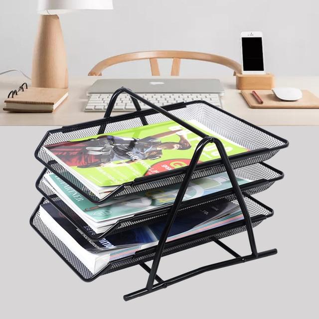 desk office file document paper. Office Filing Trays Holder A4 Document Letter Paper Wire Mesh Storage Organiser Desk File T
