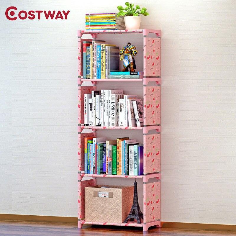 Costway Fashion Simple Non-Woven Bookshelves Four-Layer Dormitory Bedroom Storage Shelves Bookcase Boekenkast Librero W0111