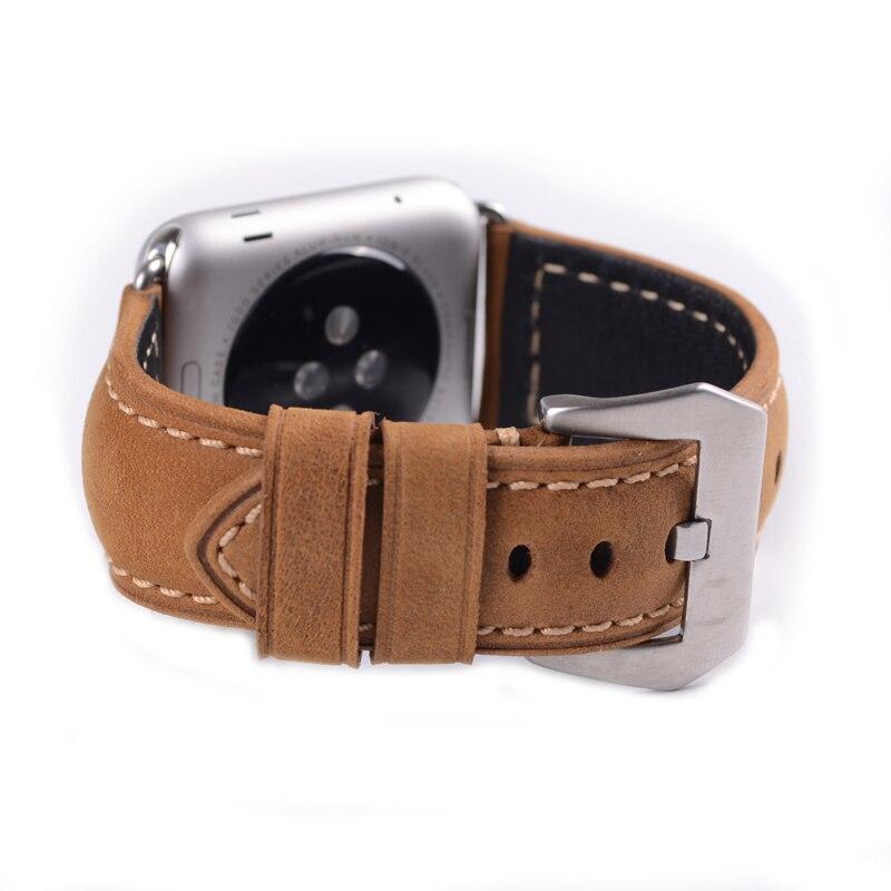 Clásico genuino Crazy Horse correa de cuero marrón para Apple Watch I Watch  38mm y 42mm negro adaptador correa para apple Watch en Correas de reloj de  ... dafe1bbe712c