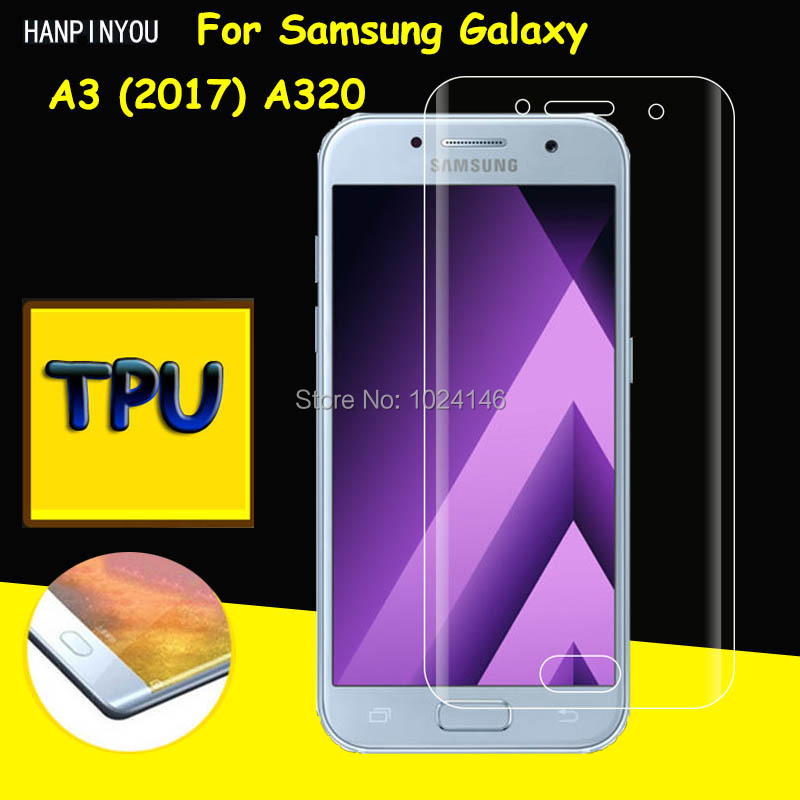 Full Coverage Clear Soft TPU Film Screen Protector For Samsung Galaxy A3 (2017) A320F , Cover Curved Parts (Not Tempered Glass)