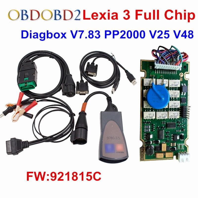 Lexia 3 Plein Puce Date Diagbox V7.83 Lexia3 Firmware 921815C OBD2 De Voiture Outil De Diagnostic Lexia3 PP2000 V48/V25 Avec plein Puce