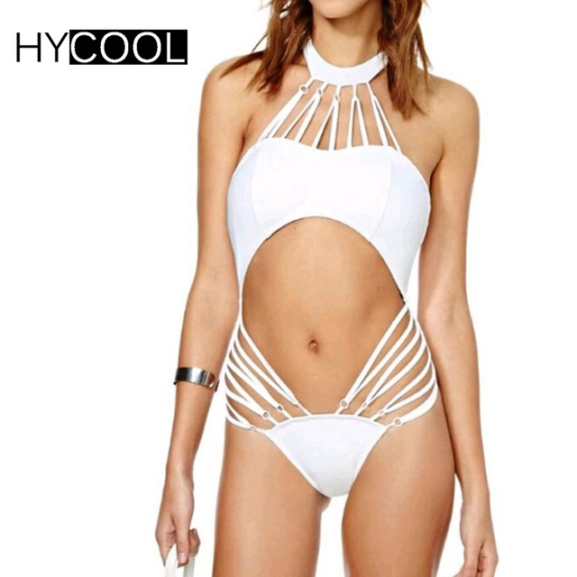 5e9d6db7310 HYCOOL Cut Out Backless White Swimsuit Women Sexy Halter High Neck Bikini  Cute Strings Thong Bathing Suits Tracksuit For Women