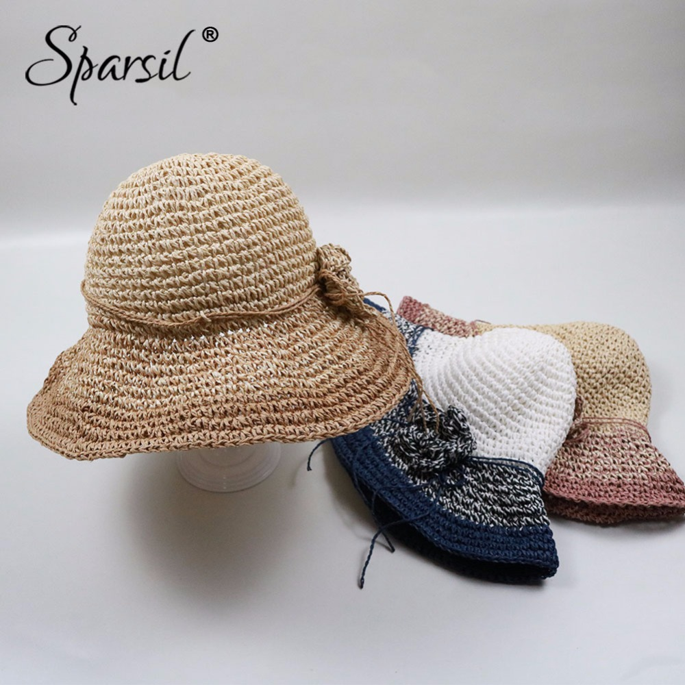 3593b42ae99 Sparsil Women Summer Gradient Brim Big Sun Hat Foldable Paper Straw Caps  Ladies Stylish Flower Woven Beach Travel Panama Hats-in Sun Hats from  Apparel ...