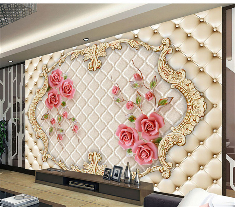 3d Wallpaper Modern Stereo Rose Soft 3d Wall Murals For