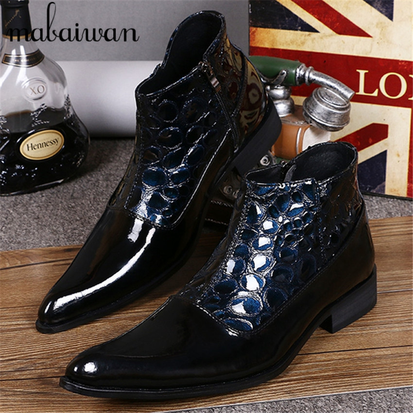 British Dark Blue Men Ankle Boots Spring Autumn Pointed Toe Genuine Leather Botas Hombre Pointed Toe Cowboy Booties Dress Shoes
