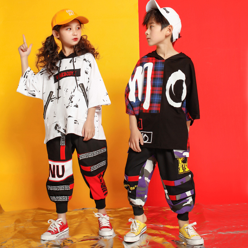 Kids Loose Shirt Pants Shorts Hip Hop Costumes Clothing Outfits Dance Costumes For Girls Boys Ballroom Dancing Streetwear