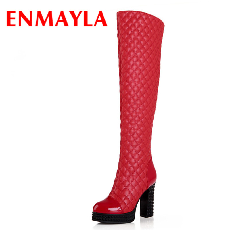 ФОТО ENMAYLA New Round Toe Sexy Square Heels Over the Knee Boots Winter Women Platform Boots for Women Long Knight Boots