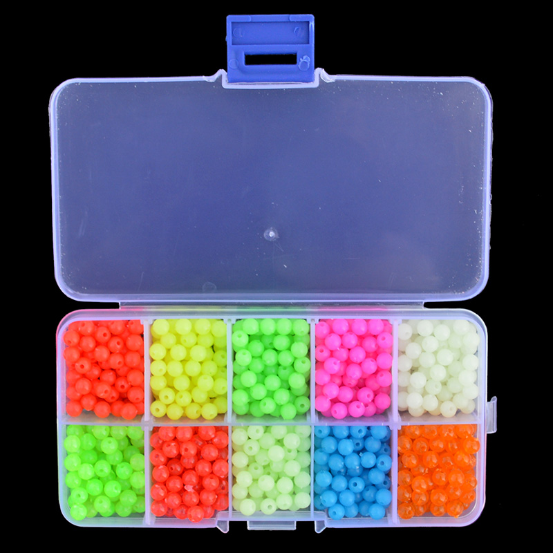 Luminous Fishing Beads 1000pcs/set 10 Colors Plastic Floating Fluorescent Fishing Beads Diameter 5mm With Box Package